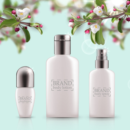 Set of realistic 3d white bottles with silver cap. Empty package for skincare cosmetic, body deodorant, spray, lotion, scrub, cream. Eco-cosmetic blank template, vector mockup for broshure, magazine