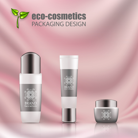 Set of realistic white bottles, tube silver cap for eco-cosmetic with line logo. Empty package for skincare cosmetic - face, eye cream jar, serum, gel. Blank template, vector mockup for ads, magazine. Illustration