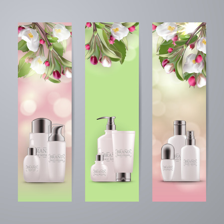 Set of realistic 3d white bottles with silver cap. Empty package for skin care cosmetic - face cream, serum, emulsion, lotion. Eco-cosmetic blank template, vector mockup for site banners, ads, booklet Illustration