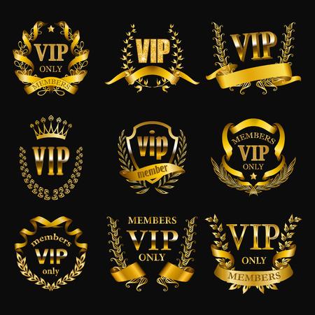 Set of gold vip monograms for graphic design on black background. Elegant graceful frame, filigree border, golden ribbons in retro style for wedding card, invitation, logo, icon. Vector illustration