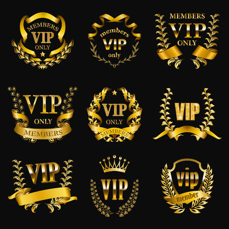 Set of gold vip monograms for graphic design on black background. Elegant graceful frame, filigree border, golden ribbons in retro style for vip card, party invitation, logo, icon. Vector illustration Illustration