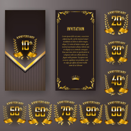 Set of anniversary card, invitation with laurel wreath, number. Decorative gold emblem of jubilee on black background. Filigree element, frame, border, icon, logo for web, page design in vintage style