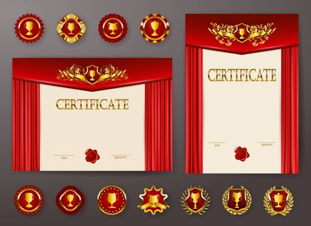 Set of elegant templates of diploma with lace filigree ornament, ribbon, wax seal, drapery fabric, badges, place for text. Certificate of achievement, education, awards, winner. Vector illustration. Çizim