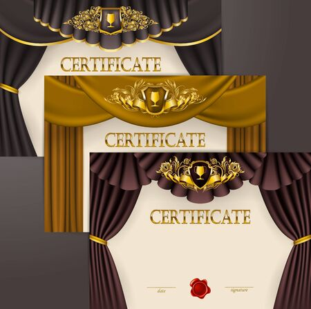 Set of elegant templates diploma, gold lace floral ornament, ribbon, wax seal, shield, drapery fabric, badge, place for text. Certificate of appreciation, education, award, winner. Vector illustration Illustration