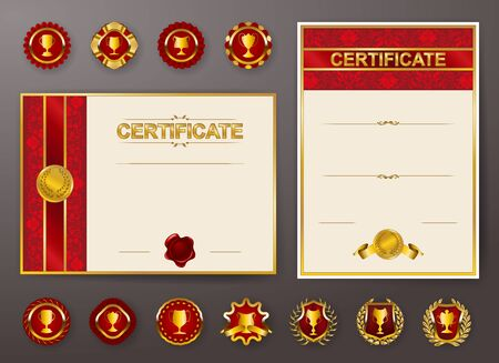 Set of elegant templates of diploma with lace floral ornament, ribbon, medals, shield, badge, champion cups, place for text. Certificate of achievement, education, awards, winner. Vector illustration. Illustration