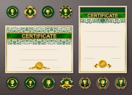 Set of elegant templates of diploma with lace floral ornament, ribbon, medals, badges, shield, trophy, place for text. Certificate of achievement, education, awards, winner. Vector illustration