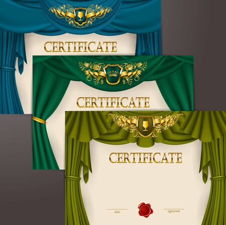 Set of horizontal elegant templates of diploma gold lace ornament, ribbon, wax seal, shield, drapery fabric, place for text. Certificate of achievement, education, award, winner Vector illustration Çizim