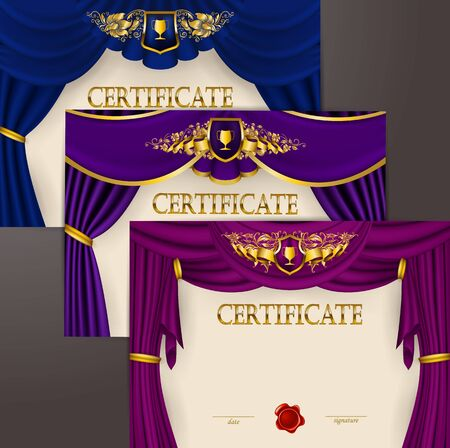 Set of elegant templates diploma, gold lace floral ornament, ribbon, wax seal, shield, drapery fabric, badge, place for text. Certificate of achievement, education, award, winner. Vector illustration