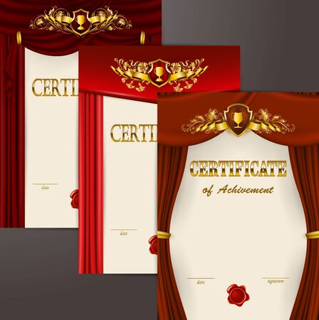 Set of elegant templates diploma, gold lace floral ornament, ribbon, wax seal, shield, drapery fabric, badge, place for text. Certificate of appreciation, education, award, winner. Vector illustration Çizim