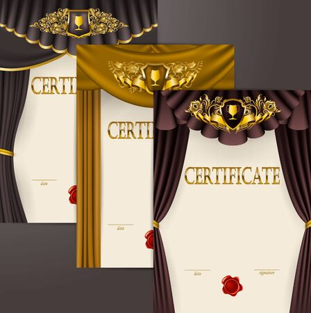 Set of elegant templates diploma, gold lace floral ornament, ribbon, wax seal, shield, drapery fabric, badge, place for text. Certificate of appreciation, education, award, winner. Vector illustration Stok Fotoğraf - 131855508