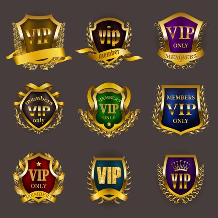 Set of gold vip monograms for graphic design on gray background. Elegant royal frame, refined border, laurel wreath, ribbon in retro style for invitation, club card, icon. Vector illustration
