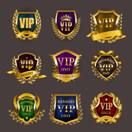 Set of gold vip monograms for graphic design on gray background. Elegant royal frame, filigree border, laurel wreath, shields in retro style for invitation, club card, icon. Vector illustration