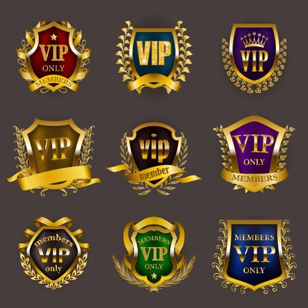 Set of gold vip monograms for graphic design on gray background. Elegant royal frame, filigree border, laurel wreath, shields in retro style for invitation, club card,  icon. Vector illustration Illustration