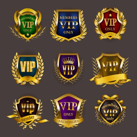 Set of gold vip monograms for graphic design on gray background. Elegant royal frame, filigree border, laurel wreath, ribbon in retro style for invitation, club card,  icon. Vector illustration Illustration