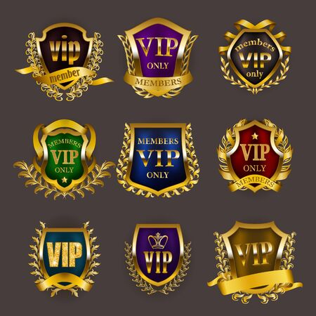 Set of gold vip monograms for graphic design on gray background. Elegant royal frame, refined border, laurel wreath, ribbon in retro style for invitation, club card,  icon. Vector illustration Illustration