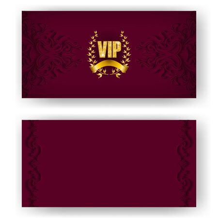 Set of vip card, invitation with laurel wreath, ribbon. Decorative gold emblem on maroon background, ornate pattern. Filigree element, frame, border, icon, for web, page design in vintage style