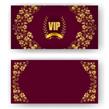 Set of vip card, invitation with laurel wreath, ribbon. Decorative gold emblem on maroon background, ornate pattern. Filigree element, frame, border, icon for web, page design in vintage style