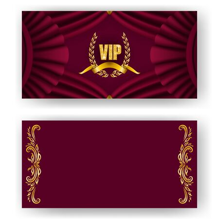 Set of vip card, invitation with laurel wreath, ribbon. Decorative gold emblem on maroon background, drapery fabric. Filigree element, frame, border, icon  for web, page design in vintage style Illustration