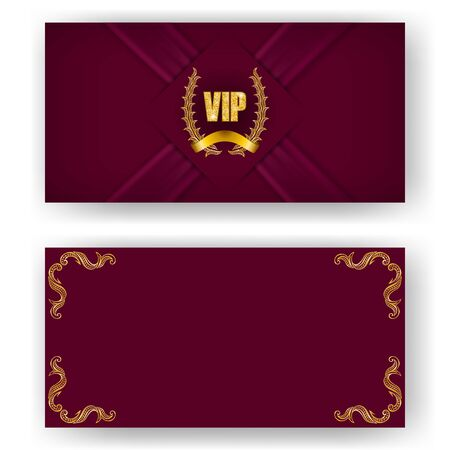Set of vip card, invitation with laurel wreath. Decorative gold emblem on maroon background, realistic ribbon. Filigree element, frame, border, icon for web, page design in vintage style