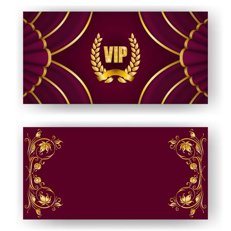 Set of vip card, invitation with laurel wreath, ribbon. Decorative gold emblem on maroon background, drapery fabric. Filigree element, frame, border, icon for web, page design in vintage style