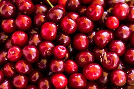 fresh red cherries closeup background