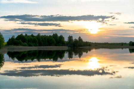 landscape of sunset on lake in Lithuania