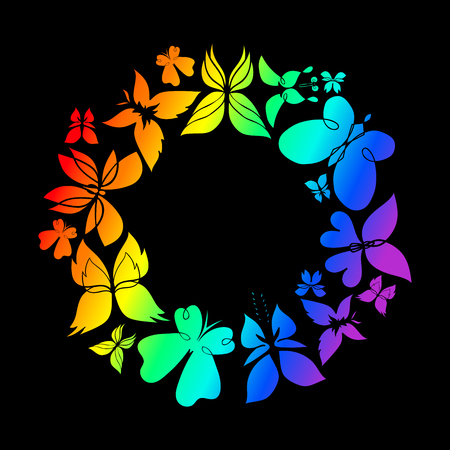 rainbow colors: butterfly colorfull round frame, rainbow colors, dark background
