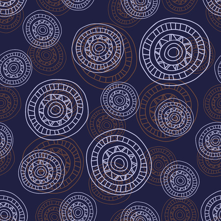 gray pattern: Simple seamless abstract pattern with hand- drawn circles, dark background with round shapes