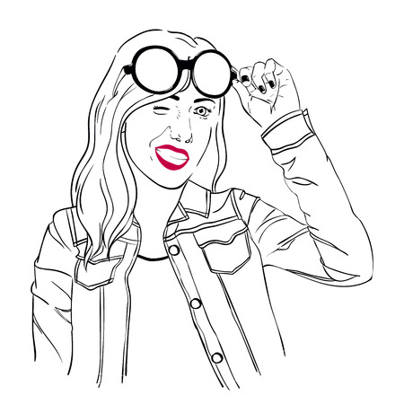 denim jacket: Girl with sunglasses and a jean jacket winks, black and white sketch illustration girl, vector girl, EPS 8