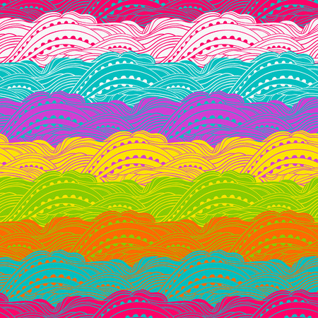 wavy fabric: Abstract seamless wavy pattern, hand-drawn waves vector, colorful wave background, can be used for design fabric, wrapping paper, package and etc., Eps 8