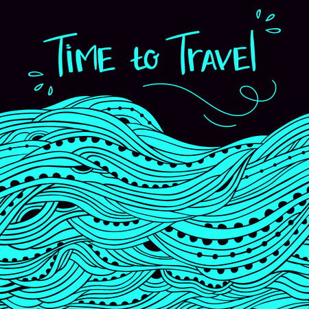 river water: Horizontal seamless water border with place for text, hand-drawn waves vector, blue wave background, lettering Time to travel, Eps 8 Illustration