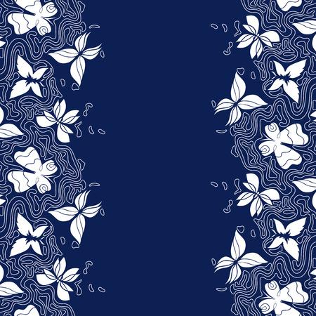 lineas onduladas: fondo dibujado a mano con el lugar para el texto, frontera del doodle con las mariposas y las l�neas onduladas, sin fisuras patr�n vertical, EPS 8