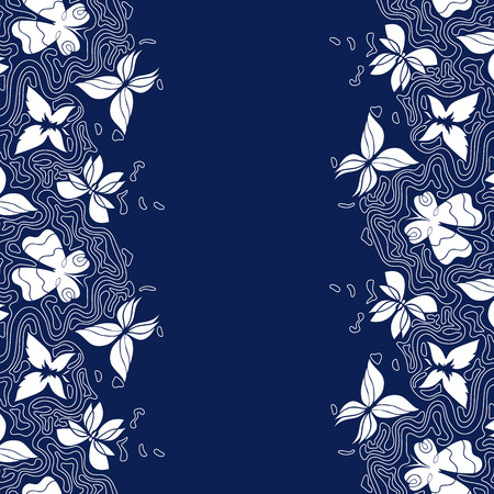 wavy lines: Hand-drawn background with place for text, doodle border with butterflies and wavy lines, vertical seamless pattern, EPS 8