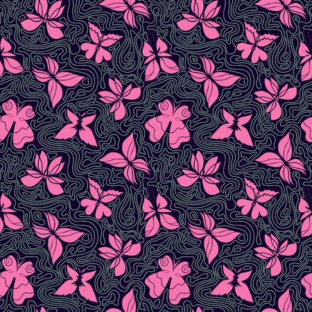 lineas onduladas: Vector dibujado a mano sin patr�n con las mariposas y las olas, el fondo de colores con mariposas de color rosa y l�neas onduladas, se pueden utilizar para el dise�o de la tela, papel de embalaje, papel pintado, EPS 8 Vectores