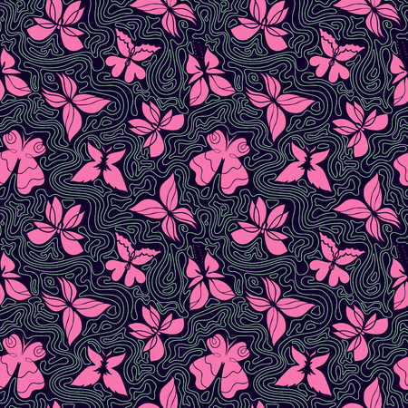 wavy fabric: Vector hand-drawn seamless pattern with butterflies and waves, colorful background with pink butterflies and wavy lines, can be used for design fabric, wrapping paper, wallpaper, EPS 8 Illustration