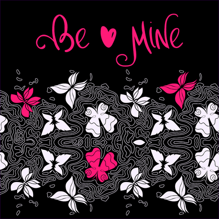 be mine: Abstract horisontal wavy border, seamless pattern with butterflies and lines, hand-drawn curly lines vector, hand lettering Be Mine Eps 8