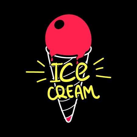 glaze: Vector ice cream cone with red glaze, hand lettering Ice Cream, Eps 8