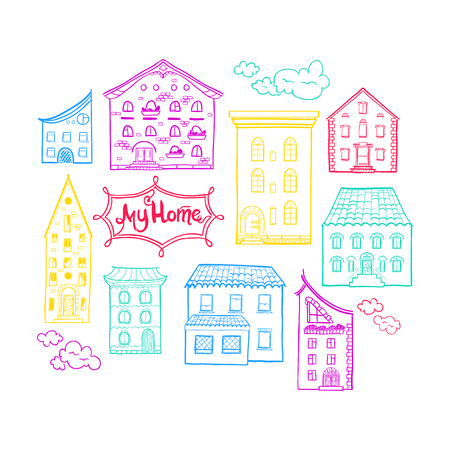 doodled: Collection of doodled houses, hand drawn sketch houses, cute doodle background with place for text, lettering My Home, EPS 8 Illustration