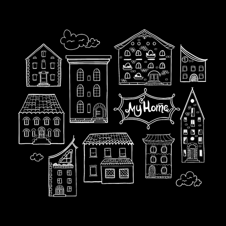 cute house: Collection of doodled houses, hand drawn sketch houses, cute doodle black and white background with place for text, lettering My Home, EPS 8