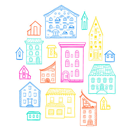 cute house: Set of doodle houses, hand-drawn sketch house, cute colorful background, EPS 8