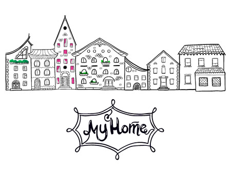 white window: Hand drawn vector houses, city street, cute doodle background with place for text, lettring My Home