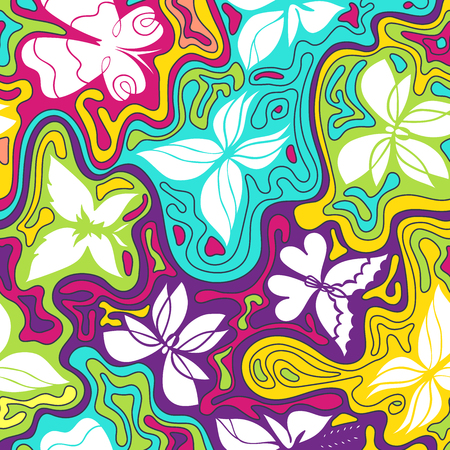 wavy lines: Vector hand-drawn pattern with butterflies and waves, colorful background with butterflies and wavy lines