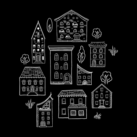 front of house: Black and white set of doodle houses, hand-drawn sketch house, isolated on black backround Illustration