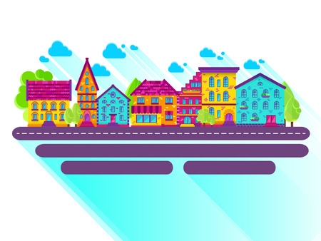 row houses: Colection of houses in a row, city street, bright colored vector houses, flat design Illustration