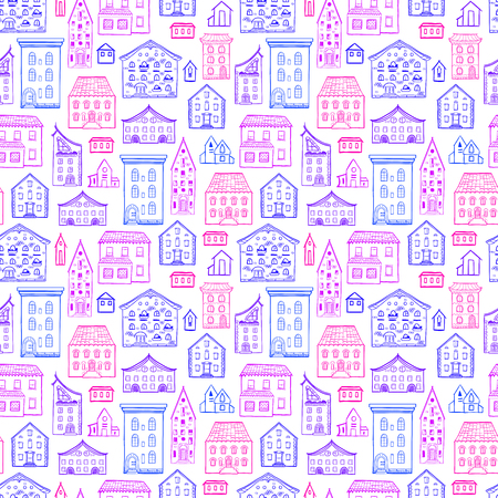 cute house: Seamless hand-drawn pattern, cute colorful background with houses, purple and pink nice buildings, good for design fabric, wrapping paper, print design, postcards
