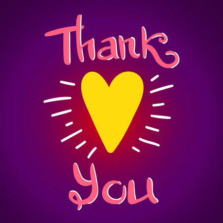 yellow heart: Thank You lettering, greeting card with yellow heart and hand written quote, vector poster with gradient background