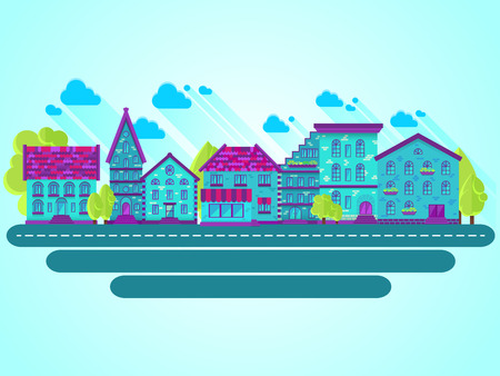 row houses: Colection of houses in a row, city street, bright colored vector houses, flat design, flat houses Illustration