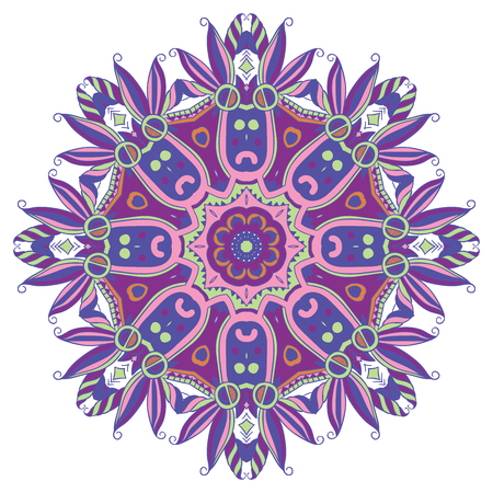 rapport: Hand-drawn colorful mandala, lace ornament round pattern, purple vintage decorative element, isolated