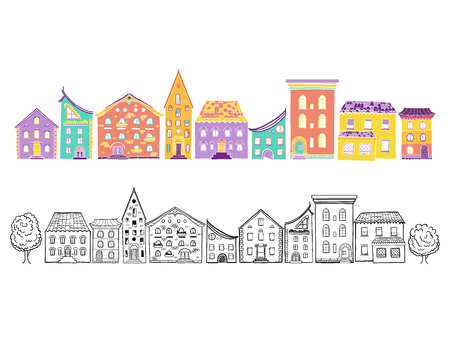 Two row of houses, color and monochrome, set of doodle hand-drawn houses
