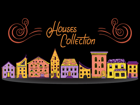 row houses: Set of color doodle houses, collection of bright sketch buildings, houses in a row Illustration